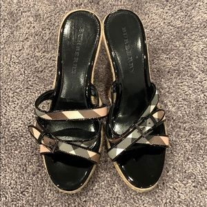 NWOT Leather Burberry Espadrille Wedges 🔥🔥